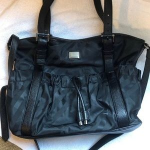 Burberry black tonal check leather tote purse